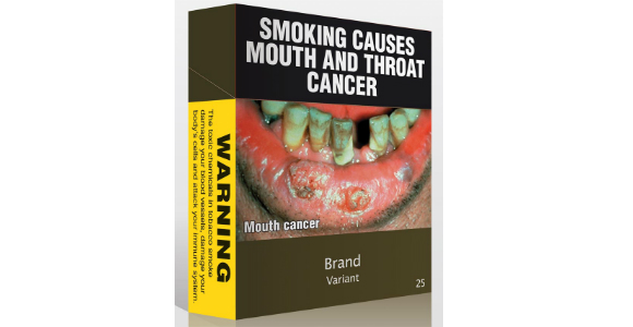 small picture of australian plain tobacco pack with large warnings