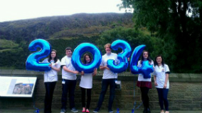 image of young people at conference with '2034' balloons (the target date for a tobacco-free Scotland'